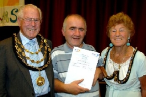 Barrow Mayor and Mayoress, Bill and Connie Crosthwaite with Jimmy Currie.